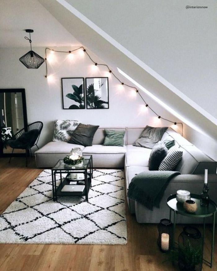 tapis cocooning deco salon cosy salon chaleureux et accueillant moderne salle de sejour guirlande lu